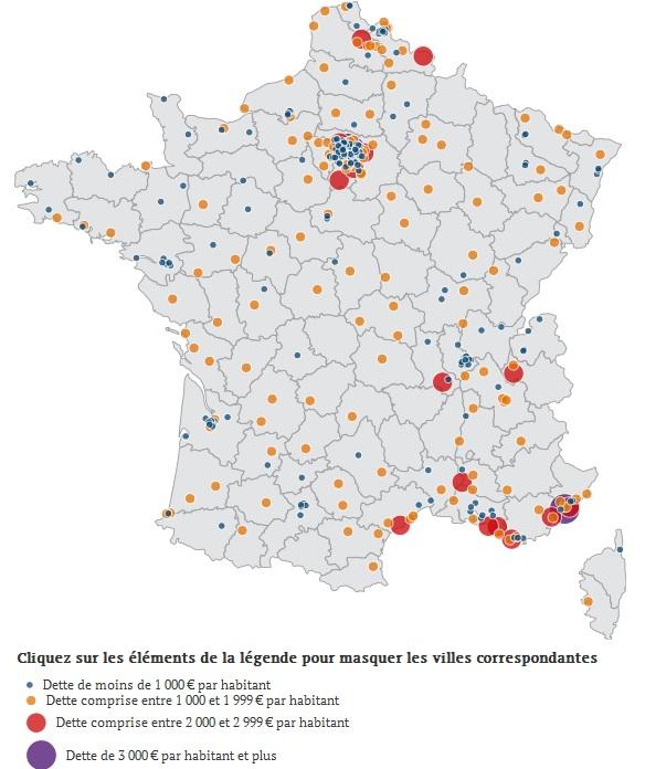 Endettement villes 2012